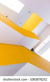 Bright yellow and white building detail in Lisbon, Portugal