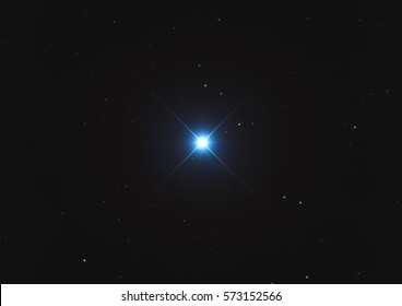 The brightest star in the sky named Sirius or Alpha Canis Majoris in the constellation Canis Major in the Southern sky taken with CCD camera through telescope