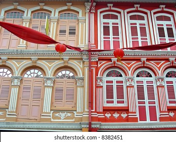 Brightly colored architecture - Shop Houses in Singapore's Chinatown.