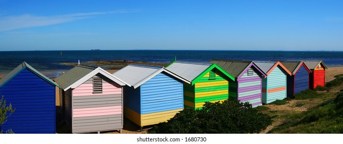 """Brightly colored """"bathing boxes"""" at Brighton Beach, Melbourne, Australia"""