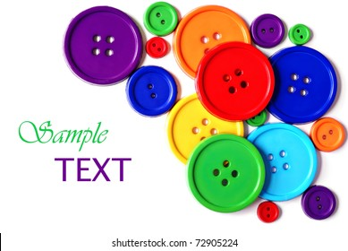 Brightly colored buttons on white background with copy space.