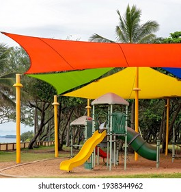 A brightly colored children playground at a beach