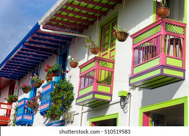 Brightly colored colonial balconies in Salento, Colombia