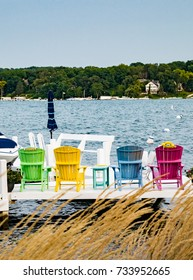 Brightly Colored Deck Chairs on Geneva Lake