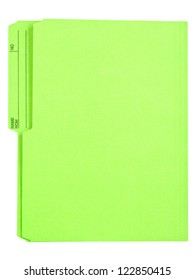 Brightly colored green folder isolated on white.