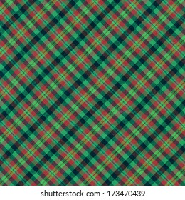 Brightly colored green red and black plaid textile background.
