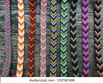 Brightly colored group of friendship bracelets