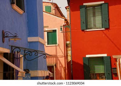 Brightly colored houses of Burano Venice, Italy