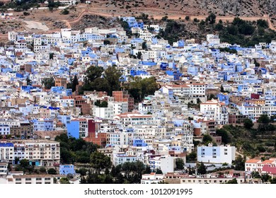 Brightly colored square in front of the mosque, Chefchaouen, Morocco