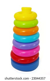 A brightly colored  stack of toy plastic rings
