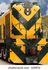 Brightly colored train engine.