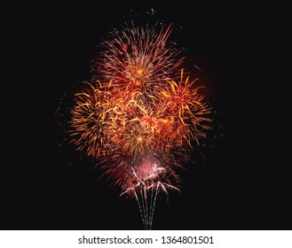 Brightly Colorful Fireworks on twilight background.