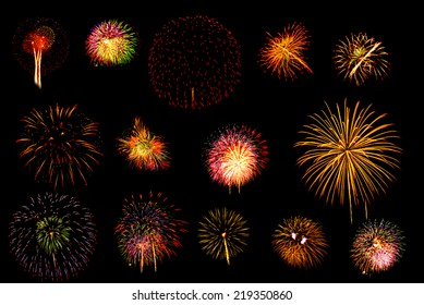 Brightly colorful fireworks set.