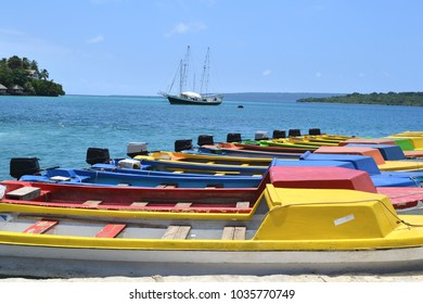 Brightly coloured boats moored in Port Vila harbour, Vanuatu, South Pacific