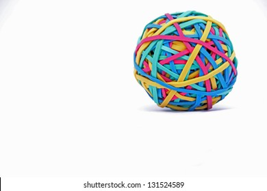 Brightly coloured Rubber band Ball on white background
