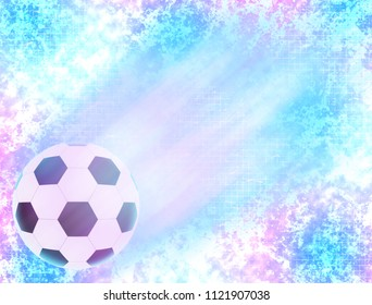 Brightly glowing flying football on colorful abstract background. Exciting backdrop for poster, web design, advertising materials.