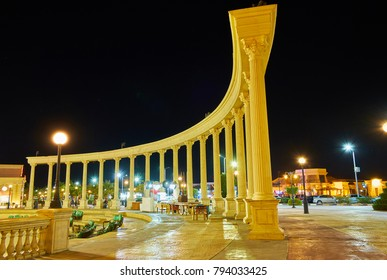 The brightly illuminated colonnade is the part of ensemble of Il Mercato shopping square in Hadaba district of Sharm El Sheikh, Egypt.