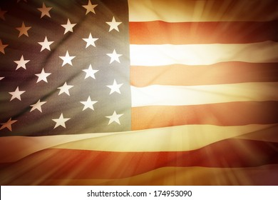 Brightly lit American flag background