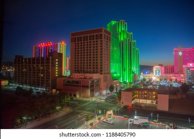 Brightly lit casinos glow in the early dawn, Reno, NV, September 9, 2018.