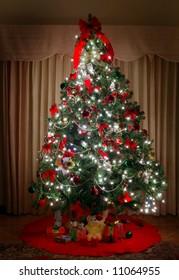 brightly lit christmas tree