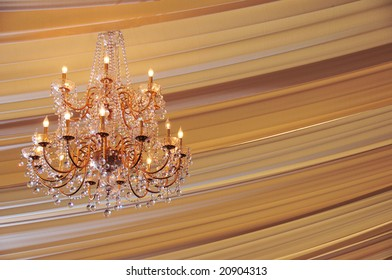 Brightly lit Crystal Chandelier