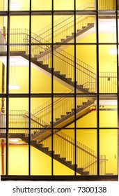 A brightly lit stairwell creates an interesting pattern.