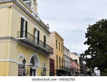 Brightly painted buildings - French Quarter, New Orleans, LA, USA