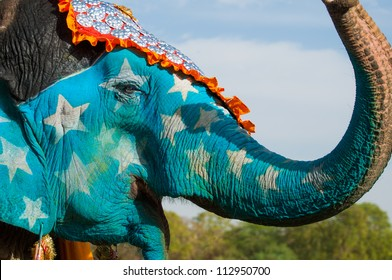 A brightly painted elephant at the Elephant Festival in Jaipur