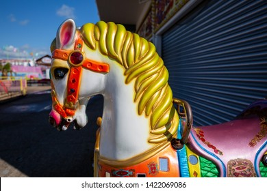 Brightly Painted Horses Head at a fairground