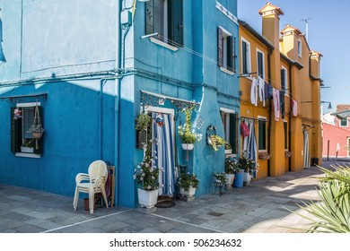 Brightly painted houses of Burano Island. Venice. Italy. 22 August 2016