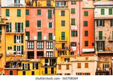 Brightly painted wallpaper with colored houses