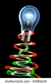 Brightly shining light bulb with electrons flow. Hi resolution rendering