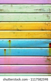 Brightly-painted wooden panels as a background
