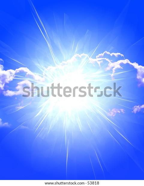 brightness shining through the sky. No clouds on bottom