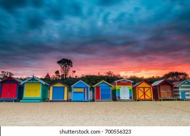 Brighton Beach, Australia: April 1, 2014: Colorful Beach House at sunrise in Brighton Beach Melbourne on April 1, 2014, Melbourne, Australia