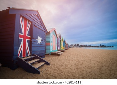 Brighton beach bathing boxes, Melbourne. Brighton beach located in the south of Melbourne.