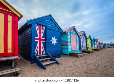 Brighton beach bathing boxes, Melbourne. Bathing boxes are the well-known landmark of Brighton beach in Melbourne.