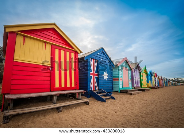 Brighton beach bathing boxes in Melbourne. Bathing boxes are the well-known place of Brighton beach in Melbourne, Australia.