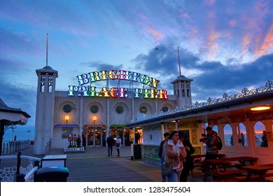 Brighton beach East Sussex England UK January 13th 2019 Brighton Palace Pier is very beautiful at twilight and attracts millions of tourists a year. built in 1800s it is a protected heritage structure