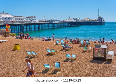 Brighton beach, Brighton and Hove, East Sussex,England, UK June 27th 2018, Brighton seafront and beach activities, crowds in sweltering record temperatures