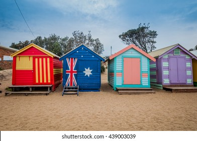 Brighton beach located in the south of Melbourne. Bathing boxes are the well-known landmark.