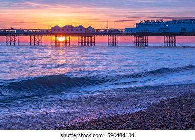 Brighton Beach at Sunset, Sussex, England, UK