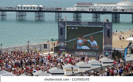 Brighton Beach UK 22nd June 2018 . England v Panama.  World Cup Football Fans queue outside the Brighton beach big screen During John Stones 8th minute goal against Panama.