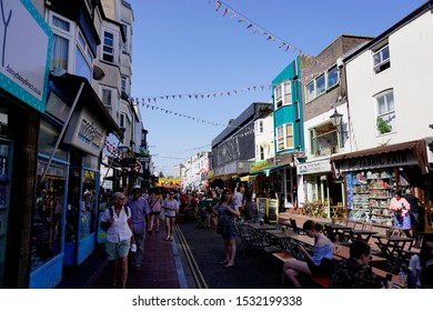 Brighton, East Sussex, England - 29 June 2019: Visitor and citizen traveling and walking around at the main town in Brighton.
