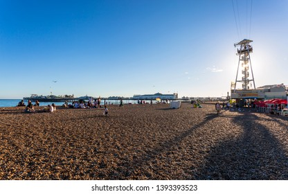 Brighton, East Sussex /England - August 7 2018: Brighton Palace Pier and beach, Brighton and Hove, East Sussex, England, United Kingdom, Europe