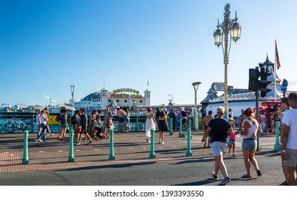 Brighton, East Sussex /England - August 7 2018: Brighton Palace Pier, Brighton and Hove, East Sussex, England, United Kingdom, Europe