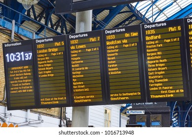 Brighton, East Sussex England, February 3 2018, a trains information board at Brighton Station showing departures and times of trains