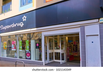 Brighton, East Sussex, England February 6th 2018 Superdrug shop on London road, part of a large chain of stores selling cosmetics, personal products and many personal care product