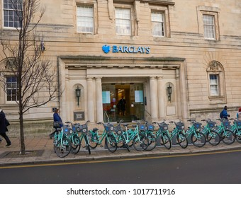 Brighton, East Sussex, England, January 5th 2018, Brighton's central Barclay's bank in 1930s Heritage building  with a bike rack of Brighton & Hove's bike share scheme in front