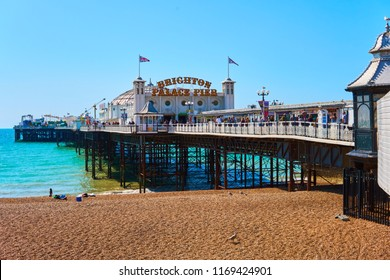 Brighton, East Sussex, England, September 1st 2018 The Brighton pier, or Palace Pier is a landmark symbol of Brighton Beach and has millions of visitors a year